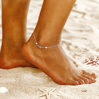 European and American fashion creative simple anklet pearl rice bead beach yoga foot ornament personality starfish pendant jewelry