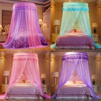 Noble Mor Pembe Düğün Yuvarlak Dantel Yüksek Yoğunluklu Prenses Yatak Nets Perde Dome Kraliçe Canopy Cibinlik Nets #sw 364 R2