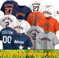 2021 2022 휴스턴 남성 여성 키즈 아스트로스 저지 27 Jose Altuve 34 Nolan Ryan George Springer Michael Brantley Yuli Gurriel Alex Bregman Baseball Jerseys