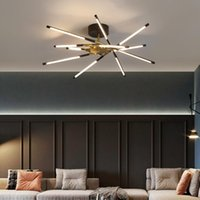 Chandeliers Postmodern Simple LED Chandelier Ceiling Black Gold Dining Living Room Hanging Lights Bedroom Lobby Home Deco Iron Luminaires