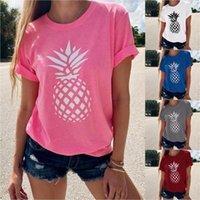 Women's T-Shirt Summer 2021 Fashion Short-sleeved Round Neck Pineapple Print For Women Lycra Beach Style Knitted