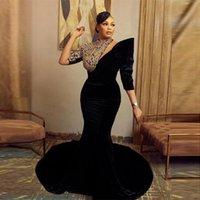 Arabic Aso Ebi Evening Dress Plus Size Lace Applique Velour Mermaid Prom Gowns Sexy Vestidos De Novia