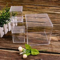 Jewelry Pouches, Bags Plastic Transparent Box Bead Storage Container Square Earrings Candy Gift Party