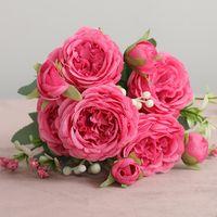 30 سنتيمتر روز الوردي الحرير الفاوانيا الزهور الاصطناعية باقة 5 رأس كبير و 4 برعم الزهور وهمية للمنزل الزفاف الديكور داخلي عقد الزهور