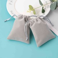 100 Personalized Drawstring Velvet Bag Grey Jewelry Packaging Chic Small Wedding Party Pouch Christmas Birthday Gift Bags
