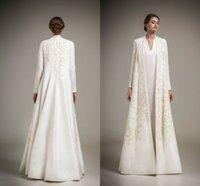 Saudi Arabia Mother Of The Bride Dresses With Jacket Jackets Ambroidery Long Sleeves Evening Dresses Long Satin Vestidos Elegant