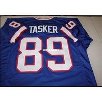 001 Steve Tasker # 89 Dikişli Dikişli Ev Retro Jersey AFC Şampiyonu Tam Nakış Jersey Boyutu S-4XL veya Özel Herhangi bir Ad veya Sayı Forması