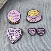 Everything will be OK Enamel Pins Purple Series Custom Sunglass Coffee Crystal Magic Ball Brooch Lapel Badge Bag Jewelry Gift Kids Friends