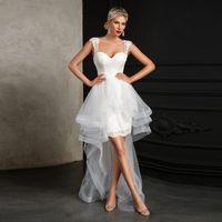 Unique Design High Low Style Wedding Gown Sexy Sweetheart Bridal Dress for Beach Weddings vestido de noiva Custom Made