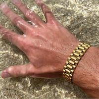 Link, Chain Hiphop Rose Gold Watchband Braceletes Pulseiras Homens Mulheres de Aço Inoxidável Relógio de Relógio Luxuoso Biker Biker Pulseira Jóias