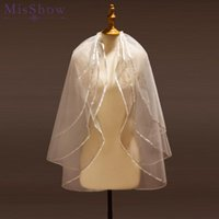 Bridal Veils Voile Mariage 2021 Wedding Accessories Short Tulle Veil White Ivory Two Layer With Comb Beaded