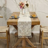 Vintage Farmhouse Style Crochet Macrame Runner with Tassels, Boho Hollow Out Floral Lace Table Runners for Wedding Decor