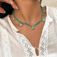 2021 Chic Boho Blue Beads Choker Necklace Fashion Women Choker Jewelry
