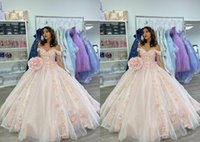 Beautiful Blush Pink 3D Floral Flowers Quinceanera Dresses 2022 Ball Gown Plus size Petite Puffy Girls Mexican XV Evening party Prom dress Vestidos 15 Anos