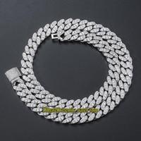 Eternité européenne et américaine hip hop hop 13mm cz diamants collier cubain collier hip hop hip collier simple rangée de diamant glacé de la chaîne cubaine