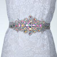 Bridal-Band-Bund-Flügel-Gürtel in der Geschenkbox für Abendkleid-Prom-Kristall-Hochzeits-Accessoires Perlen Satin-Hochzeitskleid-Gürtel