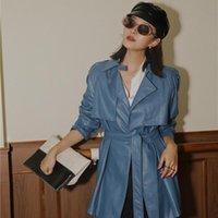 Женские куртки Lanmrem 2021 осенний воротник осени мягкая PU кожи высокого качества сращенные синий цвет куртка с поясом талии WK38505L