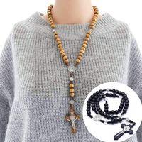 Pendentif Colliers Deux styles Fine Fine Main Madom Jésus Cross Chaîne Perlée Bijoux religieux et accessoires