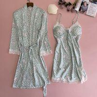 Summer 2PCS Robe Gown Sets Sexy Womens Satin Lace Nighty Bathrobe Nightgown Sleep Suit Casual Print Kimono Sleepwear Nightdress