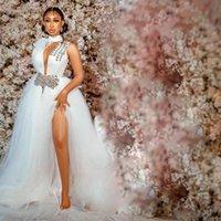 2021 Wedding Dresses for Bride High Neck Side Split Sweep Train Illusion Bodice Crystal Beads Chapel Garden Bridal Gowns vestidos de novia