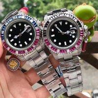 Caijiamin-Mens orologi rossi e blu anello di cristallo 40mm bracciale in acciaio inox orologio automatico super luminoso orologio da polso Orologio di Lusso
