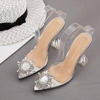 Talla grande 35 a 40 41 Silver Rhinestone PVC Clear Transparent Shoes Mujeres Puntas puntiagudas Bombas de taza de boda bridales Diseñador de lujo Tacón alto