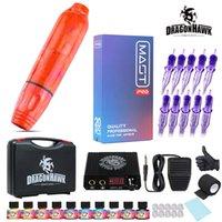 Dragonhawk Tattoo Kit Rotary Motor Pen Power Supply Cartridges Needles D3105-19