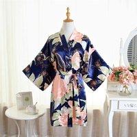 Women's Sleepwear Loose Print Women Satin Robe Bride Bridesmaid Dressing Gown Sexy Soft Kimono Bathrobe Mini Home Dress Summer Cardigan Nigh