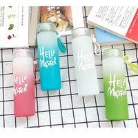 Hiçbir kelime yok !! 400 ml degrade rampa buzlu cam su şişesi yok kelimeler İletişim İletişim Renkli Cam Bardak Şişe Boş DIY Güzel Gözlük Lla486