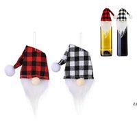 زجاجة عيد الميلاد زجاجة النبيذ غطاء اليدوية الجاموس منقوشة الشمبانيا القبعات العالية سانتا قبعة شنقا الديكور HWE9602