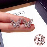Stud Est White Cubic Zirconia Butterfly Earring For Women Wedding Party Jewelry Gift