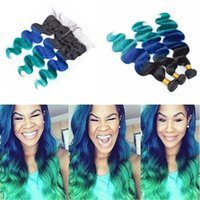 1B Blue Green Cabelo Humano Pacotes com Lace Frontal 13x4 Laço Completo Frontal com Ombre Teal Body Wave Wave Weat Head Ramsf