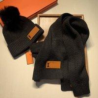 Mode Hut Schal Set Designer Brief Muster Schal Pure Farbe Wollhüte Alle Spiele Paar Sets