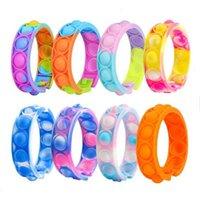 Festa de moda pulseira de silicone imprensa bolha brinquedos sensoriais arco-íris adulto crianças alívio de pressão pulso atacado