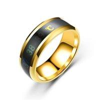 Sıcaklık Monitörü Yüzükler, Dijital Termometre Vücut Sıcaklığı Sensörü Akıllı Yüzükler Düğün Çift Severler Yüzükler, Uygun Boyutu Titanyum