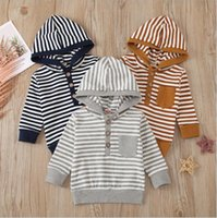 Kids Clothing Sets Boys Designer Striped Hoodies Boutique Baby Autumn Sweatshirts Fall Hooded Jumper Long Sleeve Tops Outerwear Pullover Costume B7778