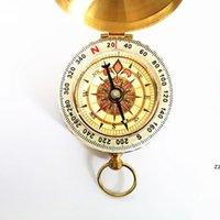 Reiner Kupferkompass G50 Taschenuhr Retro Flip Compass Outdoor Bergsteigen Multifunktionale leuchtende Kompass mit Deckel HWD7571