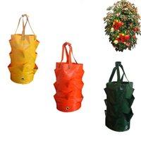 정원 야외 심기 가방 딸기 세로 꽃 파우치 루트 통기성 야채 라운드 재사용 가능한 냄비 화분 가방