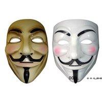 Вендетта маска анонимная маска парня Fawkes Halloween неоднозначный платье костюм белый желтый 2 цвета fwb10396