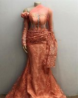 African Long Sleeves Lace Mermaid Evening Dresses 2021 beaded Aso Ebi Long Sleeves Pleats Prom Gowns Robe De Soiree
