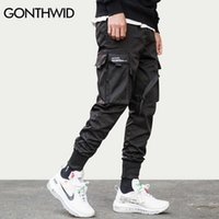 Гондидская лента пряжка мульти-карманы Harem Joggers брюки уличная одежда мужчин хип-хоп случайные грузовые спортивные штаны брюки брюки мужские 210616