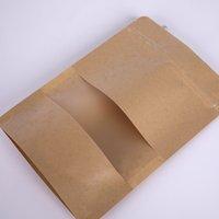 Bag de papel kraft 12 tamanhos levantam o presente secado alimento fruta chá embalagem bolsas de papel kraft saco de janela varejo zíper self selagem sacos1v2