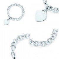 Charme para presentes 925 Sterling Silver Heart em forma de femininas Pulseira elegante Bloqueio TIF Braceletes Silverware Correspondência Mundo 2 R2