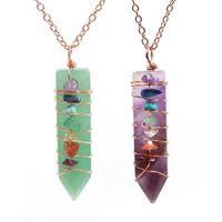 Pingente colares XSM Sword-shaped Reiki pedra natural cristal 7 chakra esmagado fio envoltório DIY encantos artesanais amuleto jóias