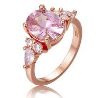 Loredana moda joyería amor serie anillos para mujeres.Exquisito romance Transparencia rosa Zircon Princess Sweet Boding Ring