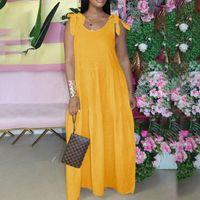 Casual Dresses Summer Maxi Women Bohemain Holiday Sundress 2021 VONDA Loose Tank Dress Sexy Beach Vestidos S-