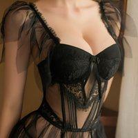 Sexy Set Lingerie for Women Sheer Mesh Perspective Lace Sleepwear Nighty Bride Dress Erotic Black Push Up Bra Exotic Apparel