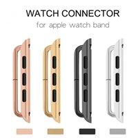Adaptador de correas de acero inoxidable para la serie de relojes de Apple 5 4 3 2 1 38mm 40mm 42mm 44mm Cinta de correa de metal adaptador de conector iWatch Hebilla de aluminio Enchufe accesorios