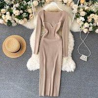 Кройширские платья для женщин сексуальные без бретелек ребристые вязаное корпусное платье женщин зима с длинным рукавом MIDI свитер одежда 210309