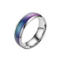 Bague en acier inoxydable Change Color Mood Ring Mood Température Émotionnelle Température Température Température sensible Lampe à bague à sept couleurs Q0708